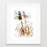 kingdom hearts Framed Art Prints featuring One Sky - Kingdom Hearts by Tegan Nat