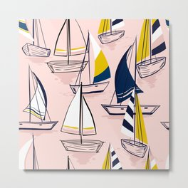 Sailing Boats on Pink Metal Print