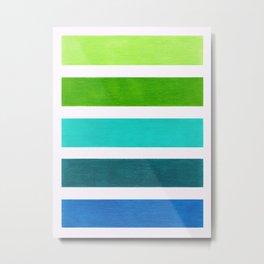 Aqua & Green Geometric Pattern Metal Print