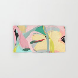 Shapes and Layers no.23 - Abstract Draper pink, green, blue, yellow Hand & Bath Towel