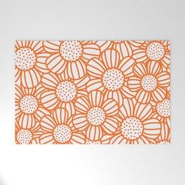 Field of daisies - orange Welcome Mat