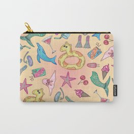 Cute Summer Beach and Poolside Illustrations Carry-All Pouch