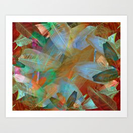 """Spring Tropical Pastel Leaves"" Art Print"
