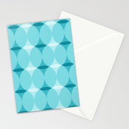 Circles and Diamonds Turquoise Stationery Cards
