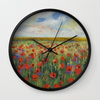 poppies Wall Clocks featuring Poppies by Michael Creese