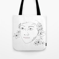 jane austen Tote Bags featuring Jane Austen by Skatty k