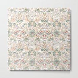 William Morris Vintage Strawberry Thief Soft Cream Pattern Metal Print