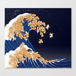 Shiba Inu The Great Wave in Night Leinwanddruck