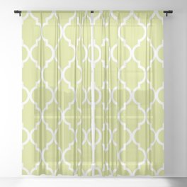 Classic Quatrefoil Lattice Pattern 731 Chartreuse Green Sheer Curtain