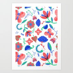Little flowers and friends Art Print