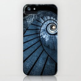 Pretty blue spiral staircase iPhone Case