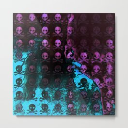 Deaths Frozen Blanket Skulls: Pink And Blue Metal Print