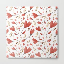 Autumn Watercolor Floral Pattern Metal Print