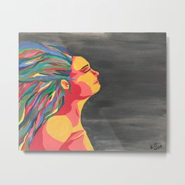 Girl with the Colored Hair Metal Print
