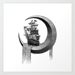 Sailing on the moon Art Print