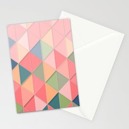 Geometric Retro Pink Pastel Pattern Stationery Cards