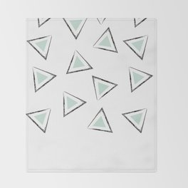 Mint Triangles Throw Blanket