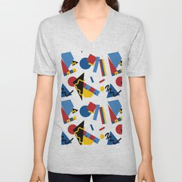 Postmodern Primary Color Party Decorations Unisex V-Neck