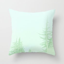 Wintry forest in green Throw Pillow