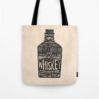type Tote Bags featuring Whiskey by Jon Contino
