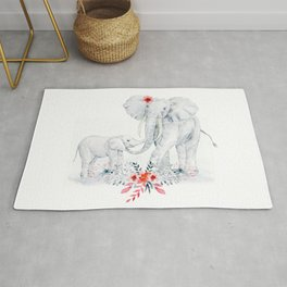 Mother's Day (Mother and Baby Elephants) Rug