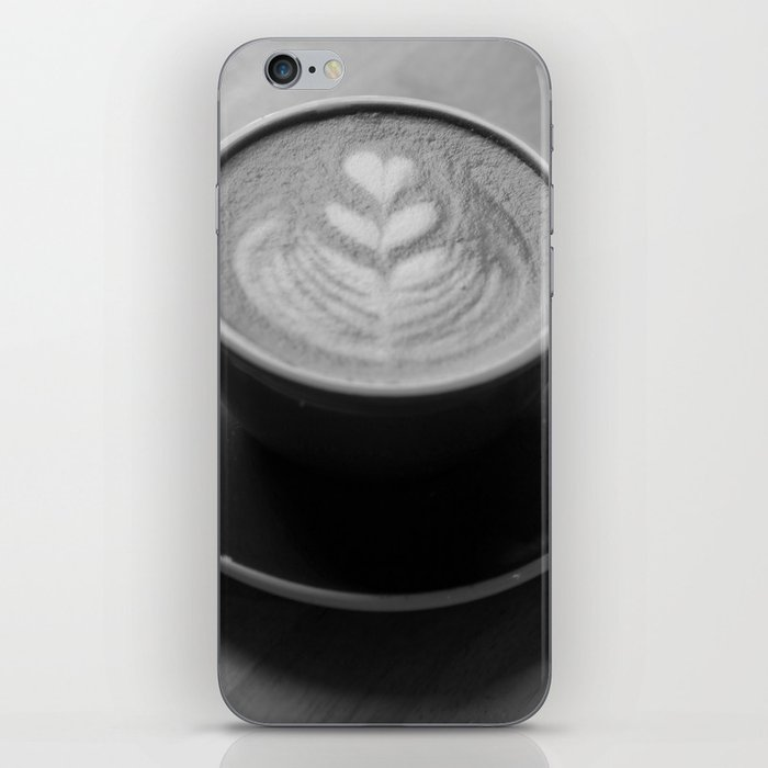 Cafe Heart - Black and White iPhone Skin