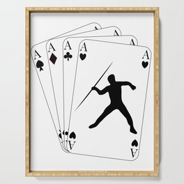 Javelin Throw on Poker Cards 4 Aces for Javelin Thrower Serving Tray