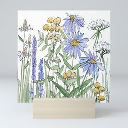 Asters and Wild Flowers Botanical Nature Floral Mini Art Print