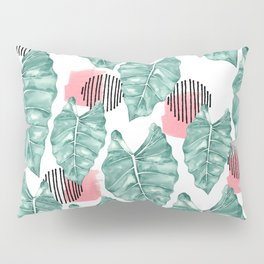 Watercolor tropical leaves abstract Pillow Sham