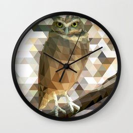 Burrowing Owl - Low Poly Technique Wall Clock