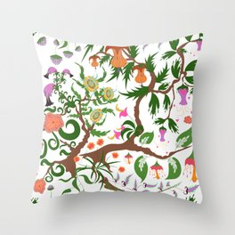 Fairy floral seamless pattern with unusual plants, trees and flowers Throw Pillow