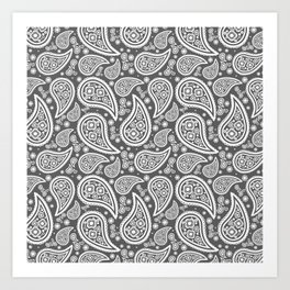 Paisley (White & Grey Pattern) Art Print