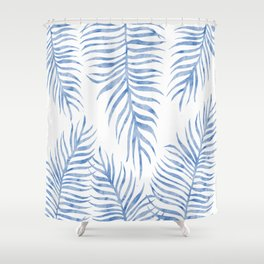 Fern Pattern Blue Shower Curtain