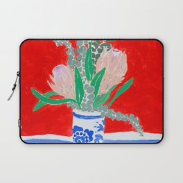 Protea Still Life in Red and Delft Blue Laptop Sleeve