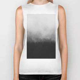 Minimalist Modern Black And white photography Landscape Misty Black Pine Forest Watercolor Effect Sp Biker Tank