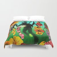 diver Duvet Covers featuring The Diver by Cut Out Copy by Barbee Hauzinger
