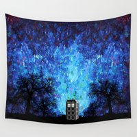 221b Wall Tapestries featuring Lonely Tardis Doctor who Art painting iPhone 4 4s 5 5c 6, pillow case, mugs and tshirt by Three Second