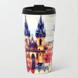 Prague Church Of Our Lady Before Tyn Watercolor Travel Mug