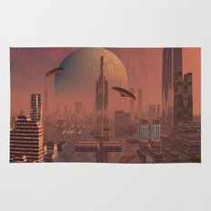 Futuristic City with Space Ships Rug