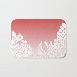 White Mosaic On Raspberry background Bath Mat