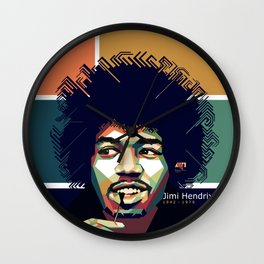 WPAP of Jimi Hendrix by andikoartwork Wall Clock