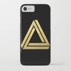 Penrose Triangle - Black and Gold, gold, black, trendy, trend, math,  Slim Case iPhone 7