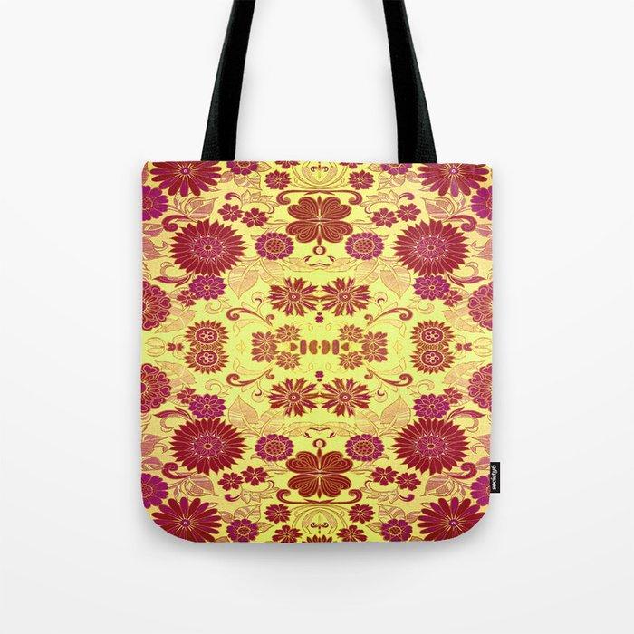 Red Retro Floral Tote Bag