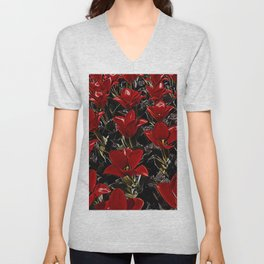 Painting the tulips red Unisex V-Neck