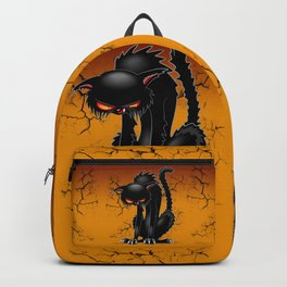 Black Cat Evil Angry Funny Character Backpack