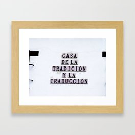 Tradition/Translation Framed Art Print