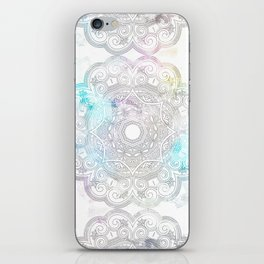 abstract gray and turquoise mandala design in minimal style iPhone Skin