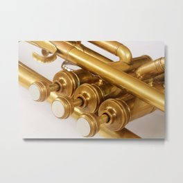 Vintage Brass Trumpet Valves and Tubes Metal Print