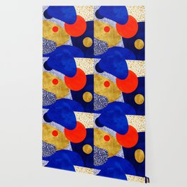 Terrazzo galaxy blue night yellow gold orange Wallpaper