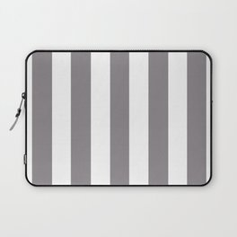 Taupe gray - solid color - white vertical lines pattern Laptop Sleeve